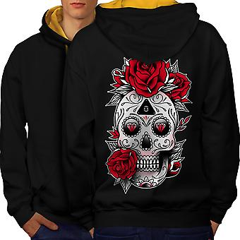 Cute Skull Men Black (Gold Hood)Contrast Hoodie Back | Wellcoda