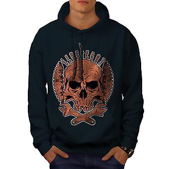 Living Life Biker Skull Men NavyHoodie | Wellcoda
