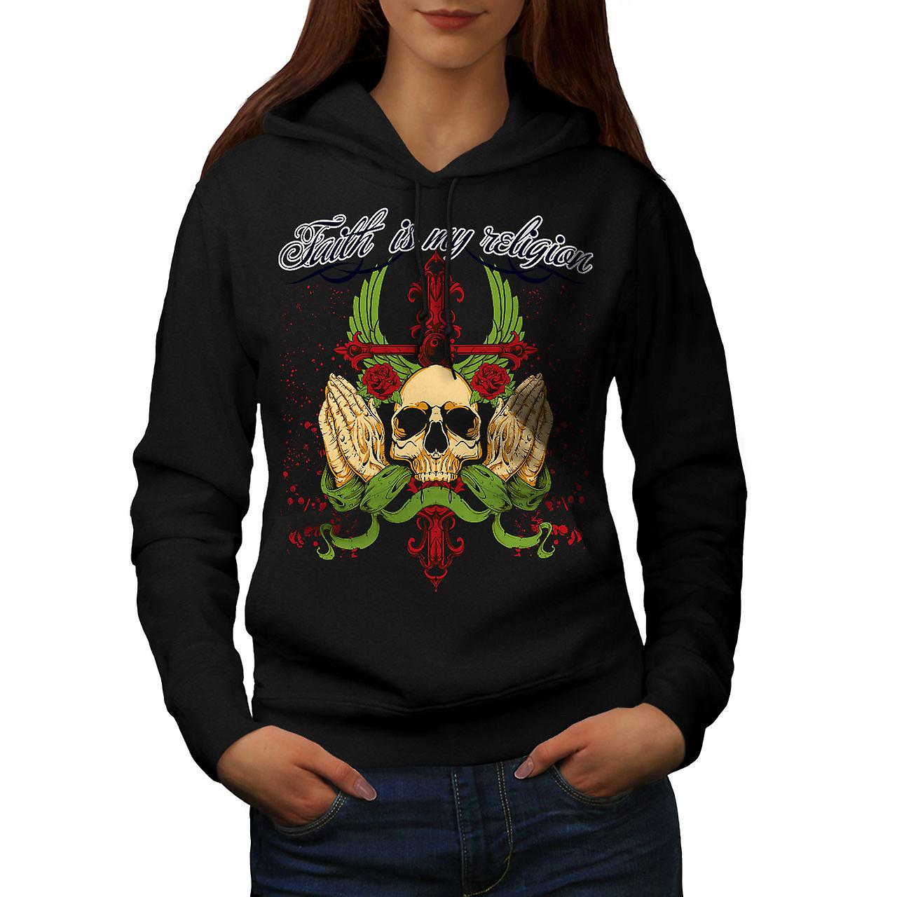 Faith My Religion Skull Women Black Hoodie | Wellcoda