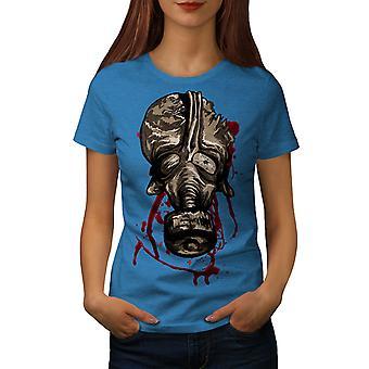 Mask Scary Creepy Women Royal BlueT-shirt | Wellcoda