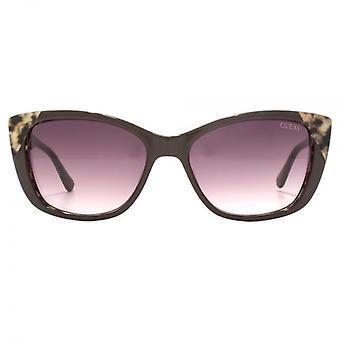 Guess Leopard Print Detail Sunglasses In Shiny Dark Brown