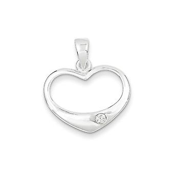Sterling Silver White CZ Polished Heart Pendant