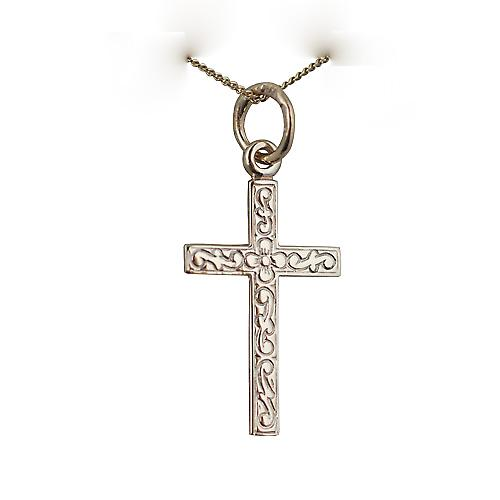 9ct Gold 19x12mm embossed Latin Cross with a Curb chain