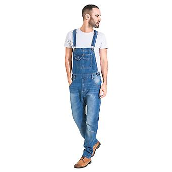 USKEES Mens Relaxed Fit Stonewash Dungarees Quality Denim Bib Overalls