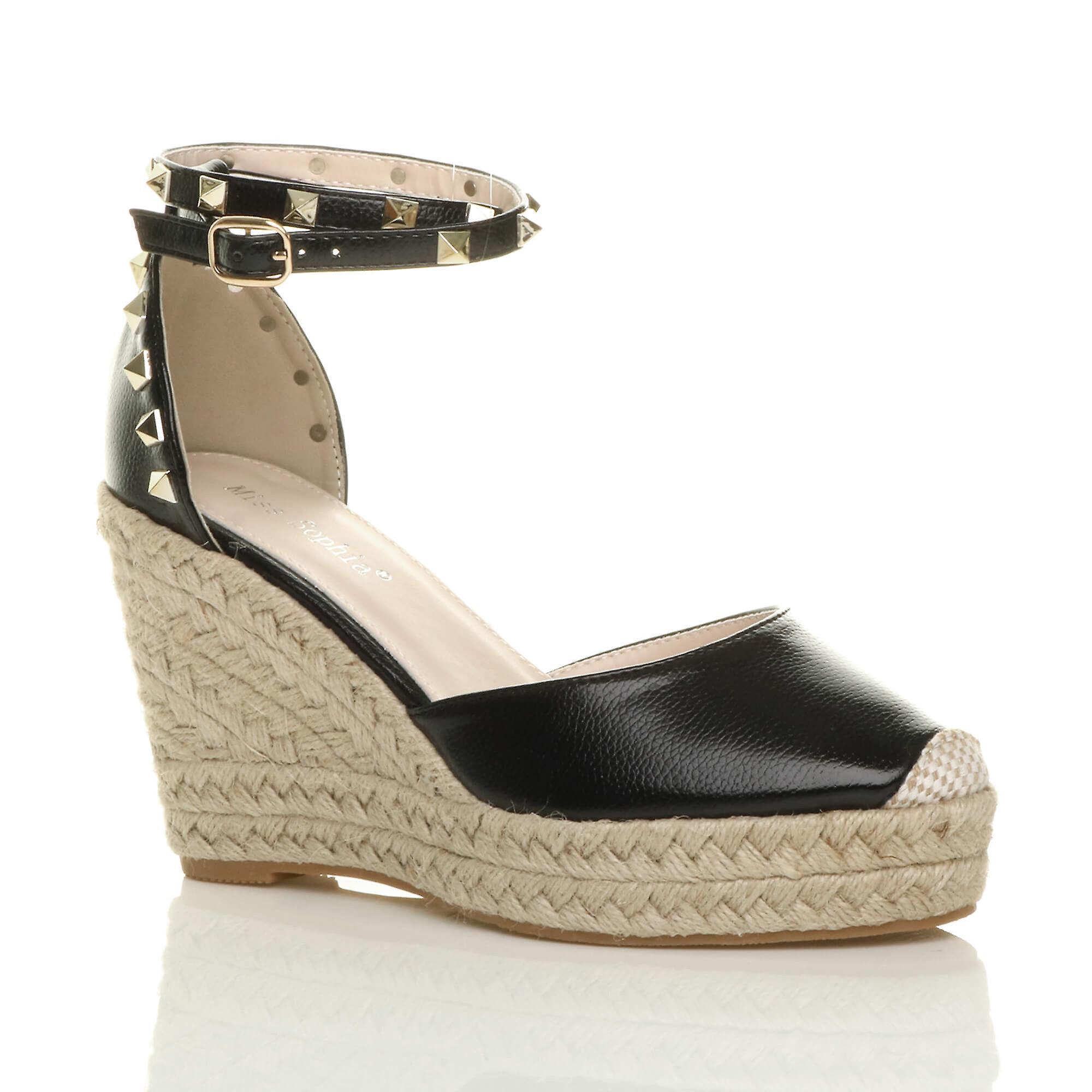 Ajvani donna high wedge heel studded ankle strap espadrilles scarpe sandals | Del Nuovo Di Stile  | Uomini/Donne Scarpa
