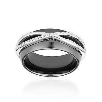 Ring Keramik schwarz, Silber und Zirkonia Kristalle