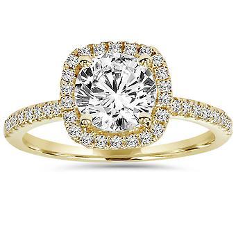 1 3 / 4ct kussen Halo duidelijkheid verbeterd Diamond Engagement Ring 14K Yellow Gold