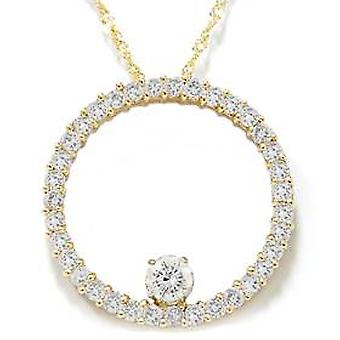 1 1/2ct Circle Of Life Diamond Pendant 14K Yellow Gold