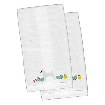 Chihuahua Easter White Embroidered Plush Hand Towel Set of 2