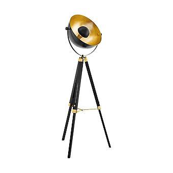 Eglo Brass en zwarte houten driepoot vloerlamp met bladgoud koepel
