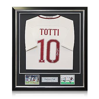 Francesco Totti Signed AS Roma 2016-17 Away Shirt: The Final Season In Deluxe Black Frame With Silver Inlay