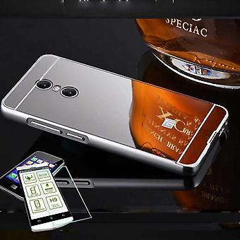Mirror / Mirror aluminium bumper 2 piece silver + 0.3 mm H9 tempered glass for Xiaomi Redmi 5