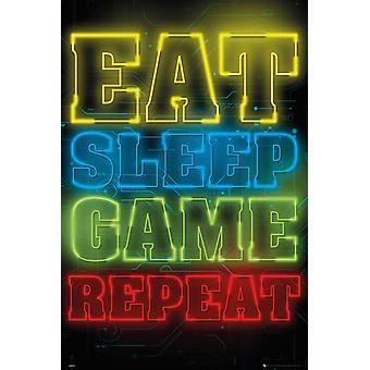 Gaming Eat Sleep Game Repeat Maxi Poster