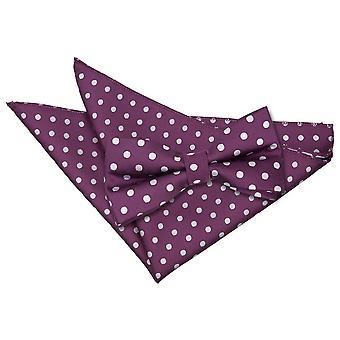 Laço de bolinhas roxas & conjunto de bolso quadrado