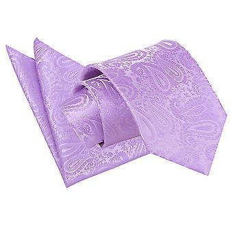 Flieder Paisley Krawatte & Einstecktuch Satz