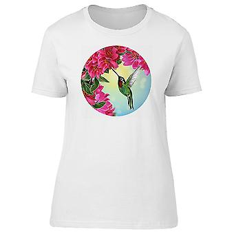 Lovely Pink Floral Hummingbird Tee Women's -Image by Shutterstock