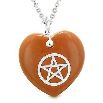 Amulett magische Pentagramm Schutz Kräfte geschwollenen Herz Energie rot Jaspis Anhänger 18 Zoll Halskette