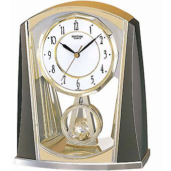 Table clock quartz grey/gold rhythm with slow-motion pendulum 21 x 18 cm