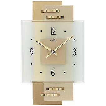 Wand Uhr Wanduhr Quarz Holzrückwand mit Messing-Applikationen Mineralglas