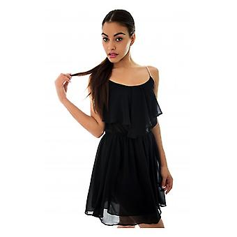 The Fashion Bible Black Chiffon Diamante Strap Dress