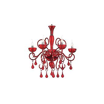Ideal Lux - Lilly Red Glass Five Light Chandelier Idl073453