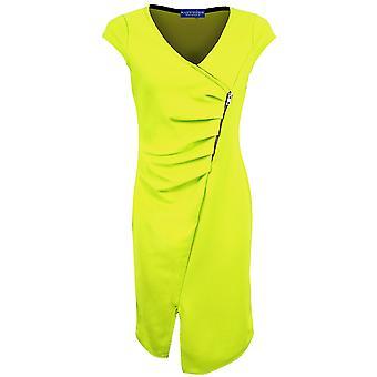 Cap Sleeve Dames V-hals Wrap Verzameld Geweven Split Vrouwen Bodycon jurk