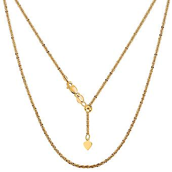 14k Yellow Gold Adjustable Sparkle Chain Necklace, 1.5mm, 22
