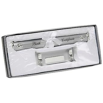 Silver Plated Birth Certificate Holder Boxed