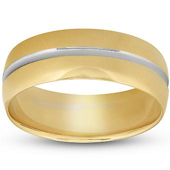 8MM Mens 14k Yellow Gold Ring Two Tone Brushed Wedding Band