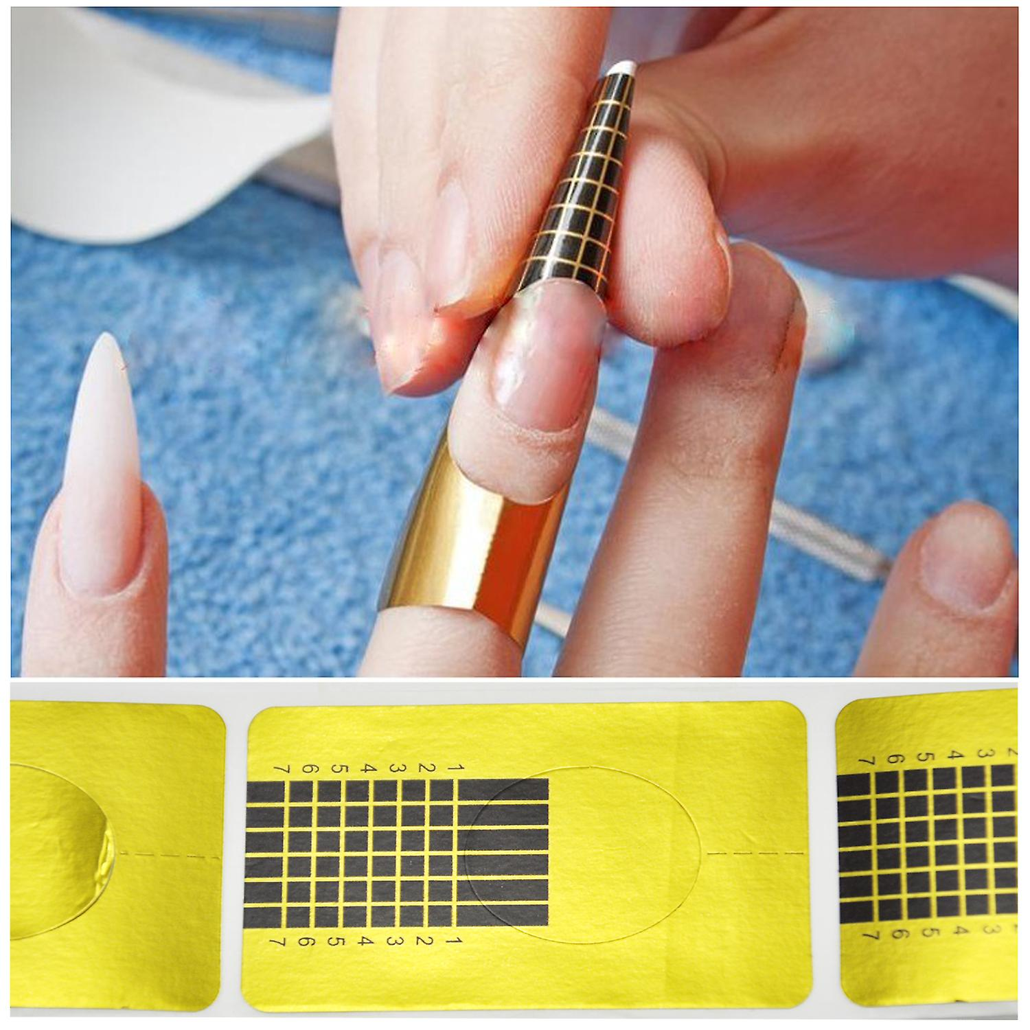 100 Salon Acrylic Gold Gel X Sculpting Nail Guide Tip Stickers Trixes Forms 9DIW2YEH