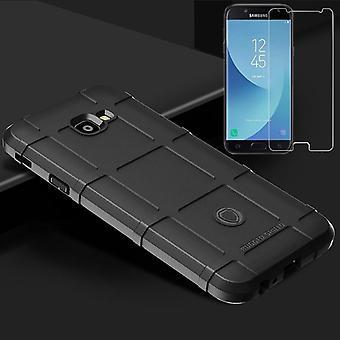 Für Samsung Galaxy J4 Plus J415F 2018 Shield Case TPU Silikon Schwarz + 0,26 mm 2.5D H9 Hartglas Tasche Hülle Cover Hülle
