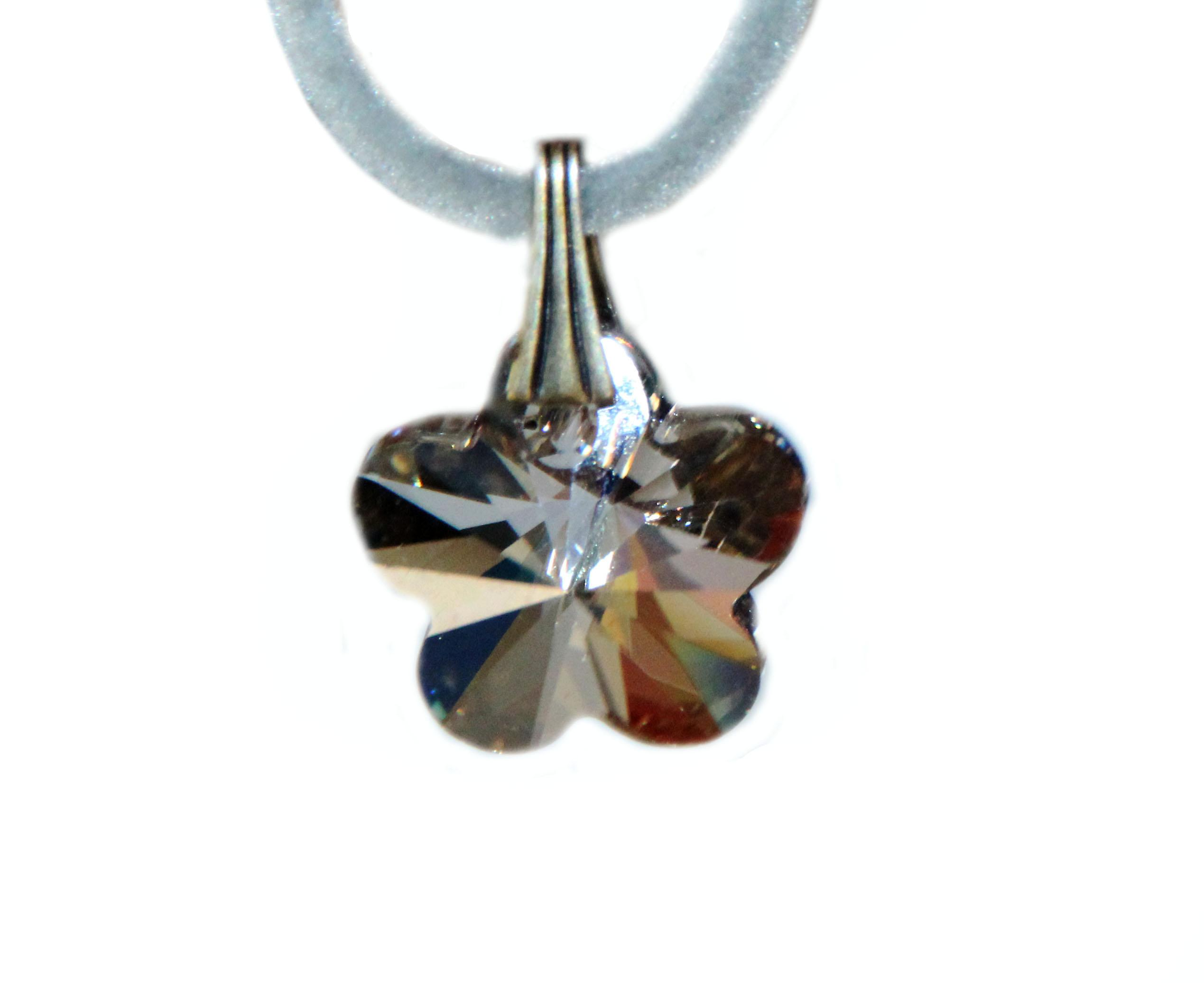Waooh - Jewelry - Swarovski / white flower pendant cord and velvet - Wholesale