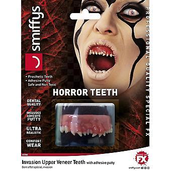 Denti di orrore, invasione, con denti di impiallacciatura superiore, bianco