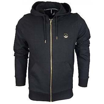 Moschino Cotton Zip Up Hooded Black Fleece