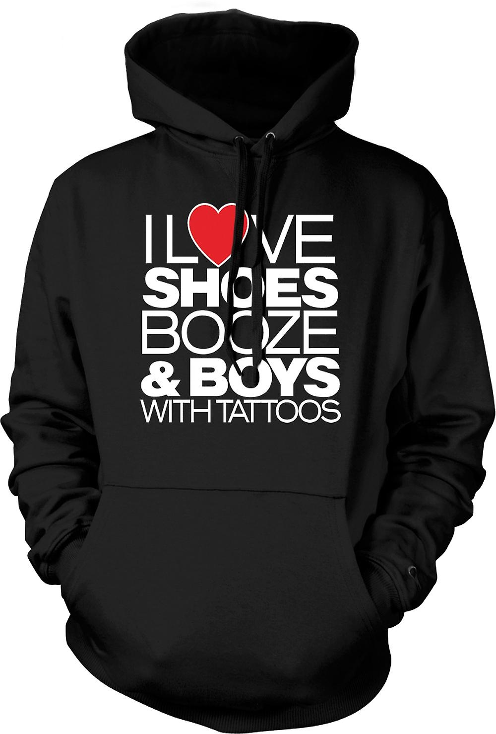Mens Hoodie - I Love Shoes Booze And Boys With Tattoos - Quote