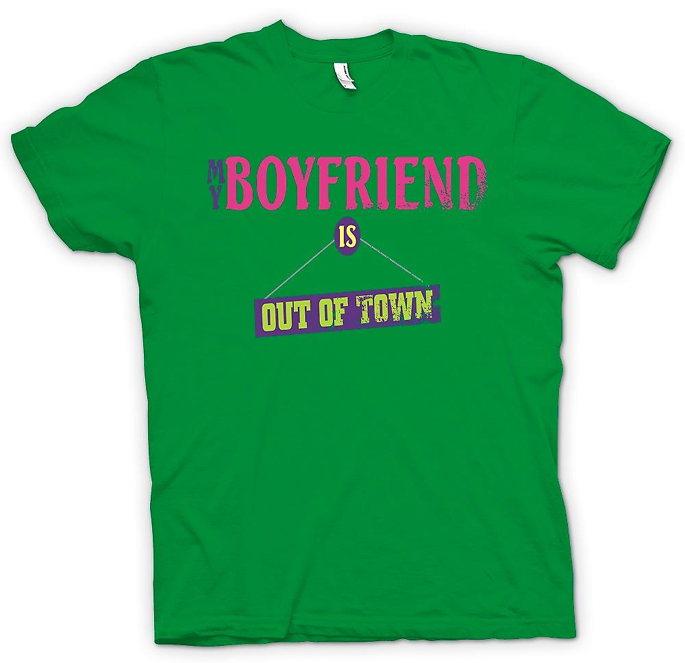 Mens T-shirt - My Boyfriend Is Out Of Town - Joke Women