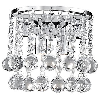 Searchlight 2402-2CC Hanna Chrome And Crystal 2 Light Wall Lamp