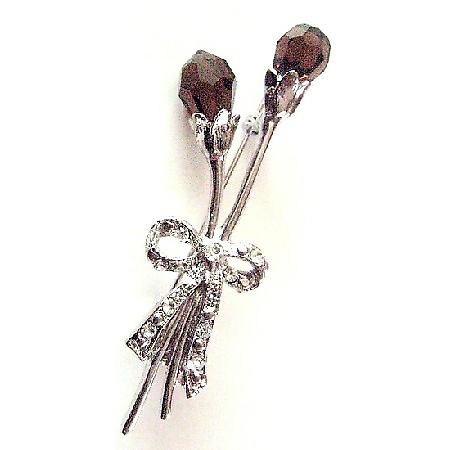 Smoked Topaz Czech Crystal Teardrop Tulip Long Stem & Bow Dress Brooch