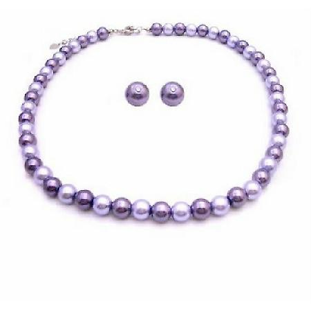 Prom Jewelry Stud Earrings Lilac & Purple Pearls Necklace Set