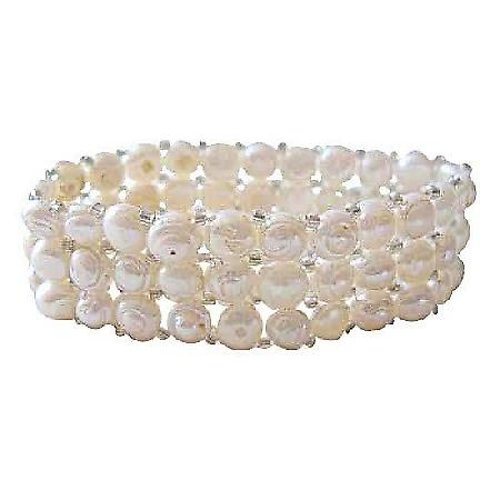 Three Stranded Cream Freshwater Pearls Stretchable Bracelet