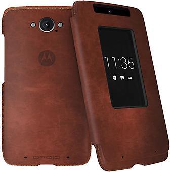 Motorola Flip Case for Motorola Droid Turbo (Dark Natural Leather)