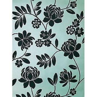 Canard de papier peint Floral Kristen Flock oeuf brun pâte métallique mur Holden Decor