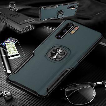 For Huawei P30 Lite hybrid magnetiske metall ring tilfelle Navy + herdet glass bag coveret ermet