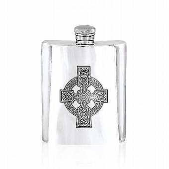 Celtic Design Pewter Hip Flask - 6Oz (Cel501)