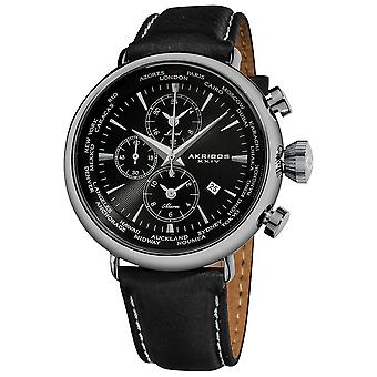 Akribos XXIV Men's Quartz Multifunction Matte Dial  Leather Strap Watch AK629BK