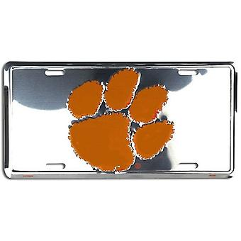 Clemson Tigers NCAA Silver Mirror License Plate