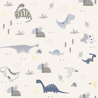 Dinosaurs Wallpaper Kids Children's Room Nursery White Blue Grey Yellow Rasch