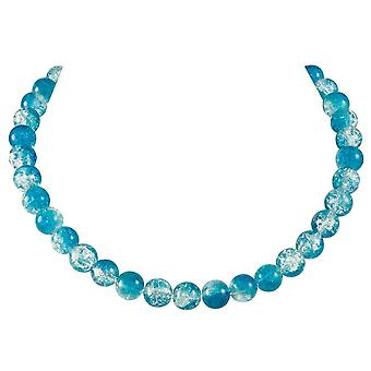 Eternal Collection Carnival Turquoise Czech Glass Crackle Bead Silver Tone Necklace