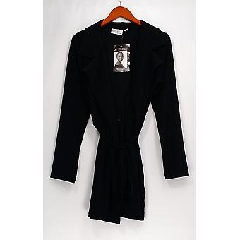 Attitudes by Renee Jacket Jersey Knit Trench Style Black A273831