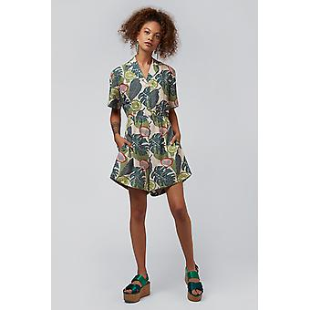 Louche Loeiza Tropical Revere Collar Tie Playsuit Green